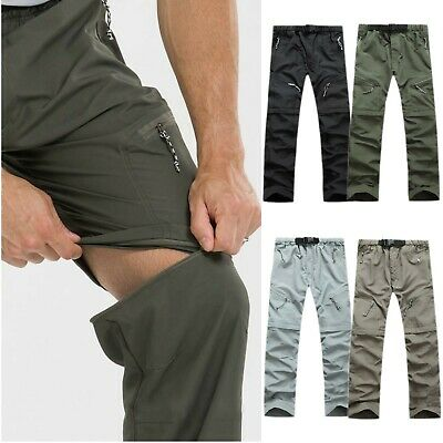 AU Mens Quick Dry Convertible Zip Off Pants Fishing Hiking Cargo Work Trousers