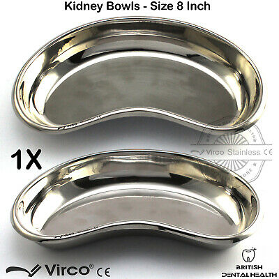 """1X Kidney Trays Bowls 8"""" Stainless Steel Dental Surgical Veterinary Lab Tools CE"""