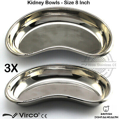"""3X Kidney Trays Bowls 8"""" Stainless Steel Dental Surgical Veterinary Lab Tools CE"""