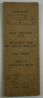 1940 Old OS Ordnance Survey 1:500,000 RAF (War) Aviation Map 5 Midlands & Wales