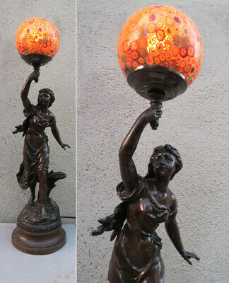 Antique Spelter Lady Murano Millefior lamp glass Figurine Vintage French Bruchon