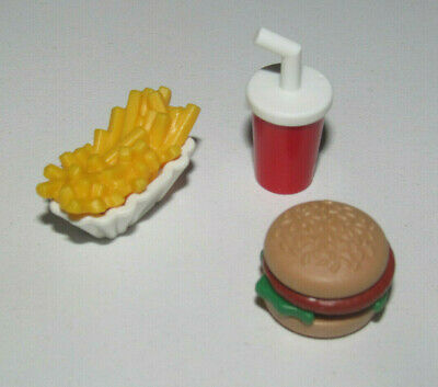 Playmobil Lot Fast Food Burger + Boisson + Barquette Frite Nourriture Foods NEW