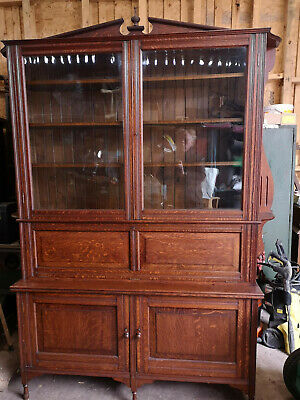 Large Solid Oak Victorian Bookcase, Exceptional Quality