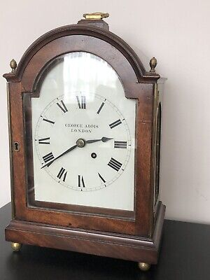 ANTIQUE 18th CENTURY BRACKET CLOCK   GEORGE ADDIS, LONDON.  MAHOGANY