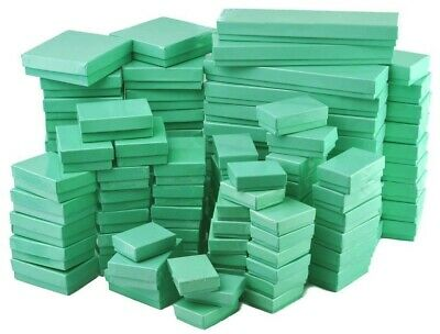 100 Assorted Mix Sizes Glossy Teal Cotton Fill Jewelry Packaging Gift  Boxes
