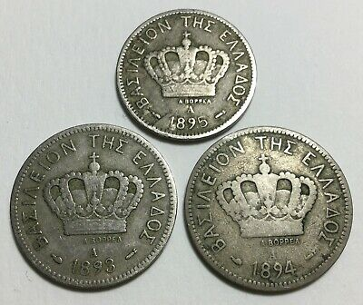 Greece - 20 Lepta 1893, 1894 & 10 Lepta 1895 - 3 Coins.
