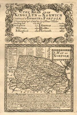 'A Map of Norfolk'. County map by J. OWEN & E. BOWEN 1753 old antique