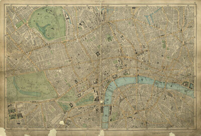 CENTRAL LONDON West End City Westminster Southwark Shoreditch BACON 1900 map