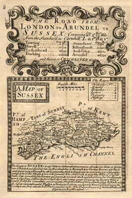 'A Map of Sussex'. County map by J. OWEN & E. BOWEN 1753 old antique chart