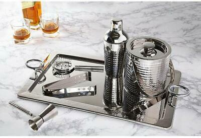 Miko Hammered Stainless Steel Cocktail Shaker 6 Piece Bar