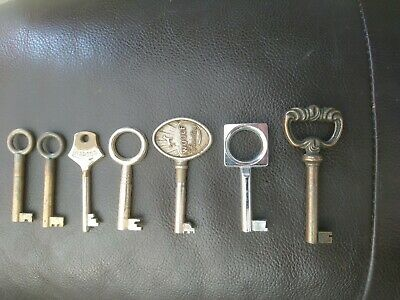 Antique Vintage Keys Job Lot of 6 Furniture Cabinet Keys - Inc WOOLF & ABBESS
