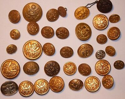 Lot of 36  -US Military Coat Buttons - Scoville, Hillborn Hamburger, Simmons etc