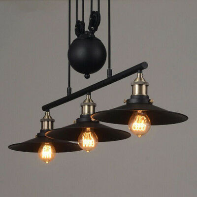 Industrial Chandelier Pulley Ceiling Light Pendant Lamp Kitchen Island Fixture A