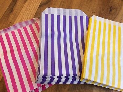 100 x Striped Paper Bags. Sweets/Candy Buffet/Wedding/Gift. Pink/Purple/Yellow