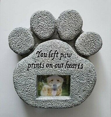Pet Paw Print Memorial Stone With Photo Frame dog cat Loss of Pet Gift