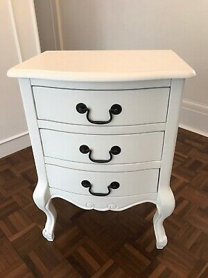 JULIETTE Shabby Chic White 3 Drawer Bedside Table, Stunning Cabinet, ASSEMBLED