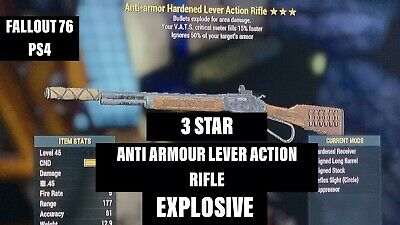 Fallout 76 PS4 3 STAR ANTI-ARMOUR *EXPLOSIVE* LEVER ACTION RIFLE WORLDWIDE