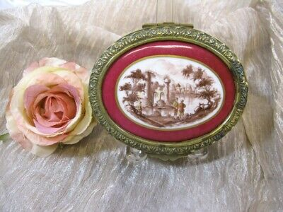 Antique Victorian French Bronze & Porcelain Ladies Dresser Box