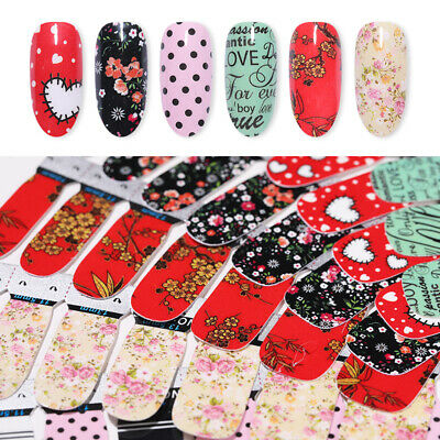 2 Sheets/Bag Adhesive Nail Wraps Flowers Heart Love Full 3D Nail Art Stickers