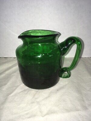Antique Vintage Green Glass Hand Blown Creamer Pitcher Handblown