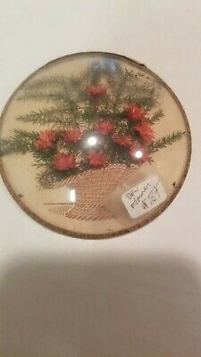Art Deco Round Convex Bubble Glass  Dried Red Flower Basket Picture