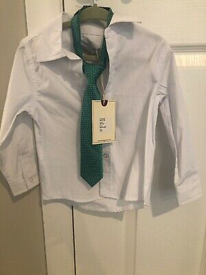 Sovereign Code Baby Boy 18mth White Button Up Shirt With Mint Tie NWT