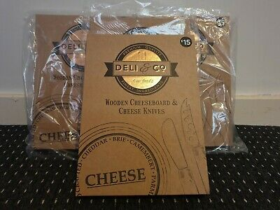 Wholesale Joblot 8 x Deli&Co Wooden Cheese Board & Cheese Knifes...RRP £15 Each.