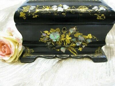 "Victorian Era Paper Mache & MOP Tea Caddy/Casket Box  8.75""W"