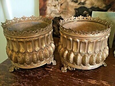 Antique French pair of pressed~stamped brass planters~cache pots~urns early 1900