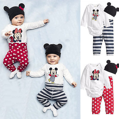 Kinder Baby Mädchen Jungen Mickey Minnie Strampler Bodysuit Hose Hut Outfits Set