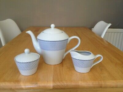 Royal Worcester Azure Teapot Milk Jug and Sugar Bowl