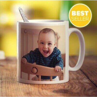 Personalised Photo or text Mug Christmas Fathers Mothers Friends Birthday Gift