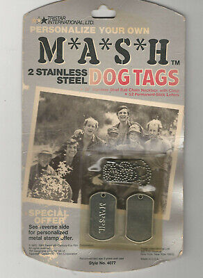 Vintage 1981 M*A*S*H 2 Stainless Steel Dog Tags #4077 in Original Package