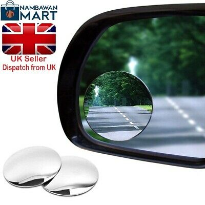 "2 x Blind Spot 2"" Mirror with Adhesive EASY FIT Wide View Angle BN UK - AUTO1020"