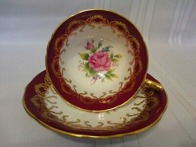 Aynsley Burgundy Red Cup & Saucer Center Pink Rose Blue Forget Me Nots Gold Trim