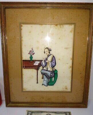 Antique 18th Century Chinese Framed Painting on Rice Paper woman smoking