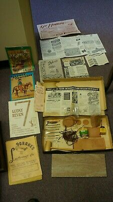 Leathercraft Beginners Kit- Used W Books- Patterns- Leather Pieces- Tools-Used