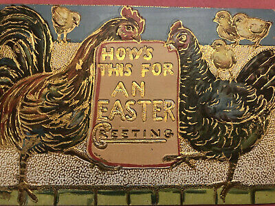 Antique Fantasy Easter Postcard Roosters w/ Sign Chicks Gold 1910 EMB Germany