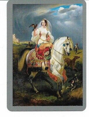 G-42 swap playing card MINT cond BEAUTIFUL PERSIAN BRIDE RIDING A HORSE