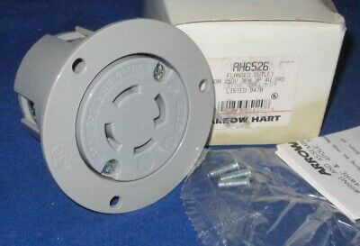Locking Flanged Outlet 30A 250V 3PH 3P 4W Gray GRD NEMA L15-30R AH6526