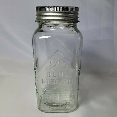 Vintage Glass Jar Blue Ribbon Coffee  4737 with Lid Collectible 1933 Canada