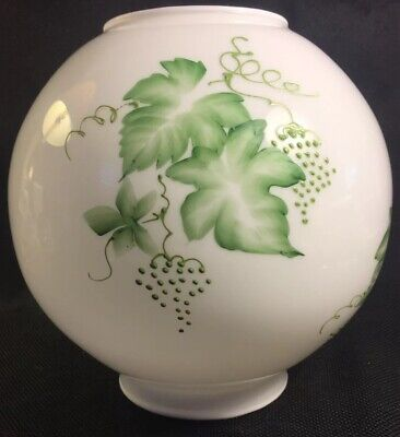 """GWTW Hand Painted Grapevine Glass 8"""" Ball Banquet Oil Lamp Globe Shade 4"""" Fitter"""