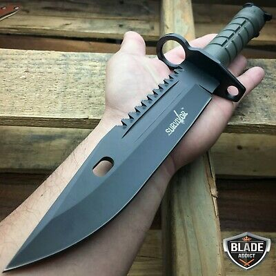 "13"" Bayonet Military Tactical Survival Hunting Knife Fixed Blade Rambo Army -T"