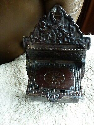 Vintage Victorian Ornate Cast Iron Wall Mount Double Match Safe Holder Antique