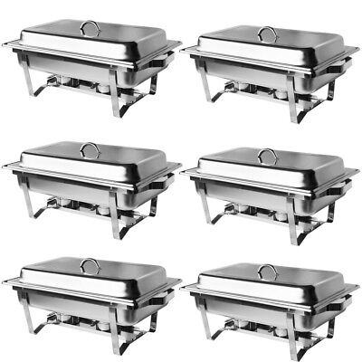 6 Pack Catering Classic  Stainless Steel Chafer Chafing Dish Sets 8QT Size Buffe