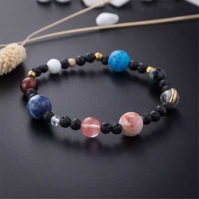 Eight Planets Natural Stone Beaded Bracelet Galaxy Solar System Theme Gift New