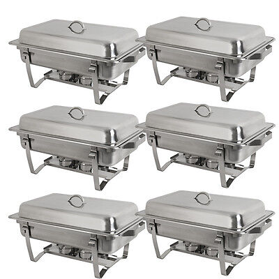 6 * Rectangular Catering Chafing Dish Sets Buffet Trays 8 QT Full Size Stainless