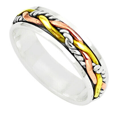 3.69gms Victorian Two Tone Spinner Band Ring Jewelry Size 5.5 Thejaipurshop