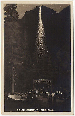 1926-40s RPPC Yosemite Park CA Firefall Camp Curry Festival Real Photo Postcard