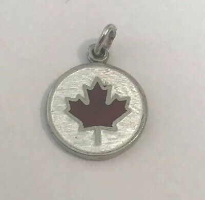 Sterling Silver & Enamel Canadian Maple Leaf Disk Charm - Vintage BMCO Canada